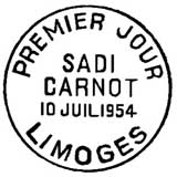 Oblitération 1er jour à Limoges le 10 juillet 1954