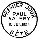 Oblitération 1er jour à Sète le 10 juillet 1954