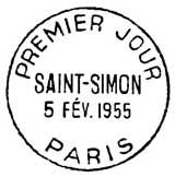 Oblitération 1er jour à Paris le 5 février 1955