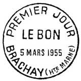 Oblitération 1er jour à Brachay le 5 mars 1955