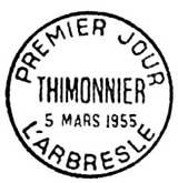 Oblitération 1er jour à L'Arbresle le 5 mars 1955
