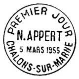Oblitération 1er jour à Chalon-sur-Marne le 5 mars 1955