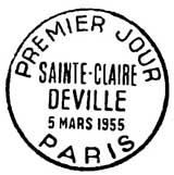 Oblitération 1er jour à Paris le 5 mars 1955