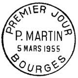 Oblitération 1er jour à Bourges le 5 mars 1955