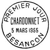 Oblitération 1er jour à Besançon le 5 mars 1955