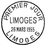 Oblitération 1er jour à Limoges le 26 mars 1955