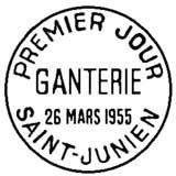 Oblitération 1er jour à Saint-Junien le 26 mars 1955