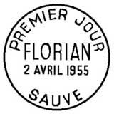 Oblitération 1er jour à Sauves le 2 avril 1955