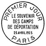 Oblitération 1er jour à Paris le 23 avril 1955