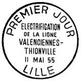 Oblitération 1er jour à Lille le 11 mai 1955