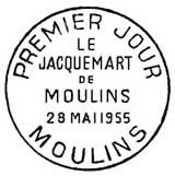 Oblitération 1er jour à Moulins le 28 mai 1955