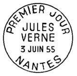Oblitération 1er jour à Paris, Nantes, Amiens le 3 juin 1955