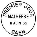 Oblitération 1er jour à Caen le 11 juin 1955