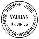 Oblitération 1er jour à St-Léger-Vauban le 11 juin 1955