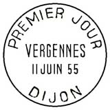 Oblitération 1er jour à Dijon le 11 juin 1955