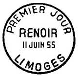 Oblitération 1er jour à Limoges le 11 juin 1955