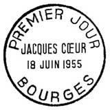 Oblitération 1er jour à Bourges le 18 juin 1955