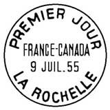 Oblitération 1er jour à La Rochelle le 9 juillet 1955