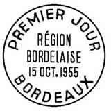 Oblitération 1er jour à Bordeaux le 15 octobre 1955
