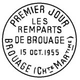 Oblitération 1er jour à Brouage le 15 octobre 1955