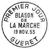 Oblitération 1er jour à Guéret le 19 novembre 1955