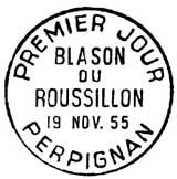 Oblitération 1er jour à Perpignan le 19 novembre 1955