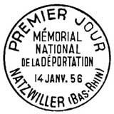 Oblitération 1er jour à Natzwillers le 14 janvier 1956