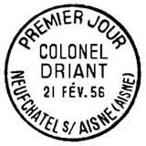 Oblitération 1er jour à Neufchatel-sur-Aisne le 21 février 1956