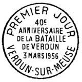 Oblitération 1er jour à Paris et Verdun le 3 mars 1956