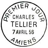 Oblitération 1er jour à Amiens le 7 avril 1956