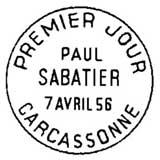 Oblitération 1er jour à Carcasonne le 7 avril 1956