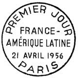 Oblitération 1er jour à Paris le 21 avril 1956