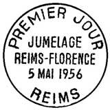 Oblitération 1er jour à Reims le 5 mai 1956