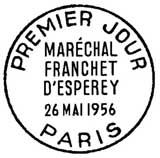 Oblitération 1er jour à Paris le 26 mai 1956