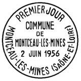Oblitération 1er jour à Montceau-les-Mines le 2 juin 1956