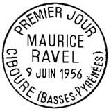 Oblitération 1er jour à Ciboure le 9 juin 1956
