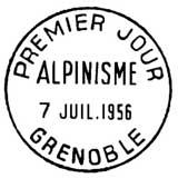 Oblitération 1er jour à Grenoble le 7 juillet 1956