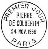Oblitération 1er jour à Paris le 24 novembre 1956
