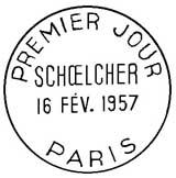 Oblitération 1er jour à Paris le 16 février 1957