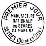 Oblitération 1er jour à Sèvres le 23 mars 1957