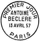 Oblitération 1er jour à Paris le 13 avril 1957
