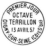 Oblitération 1er jour à Oigny-sur-Seine le 13 avril 1957