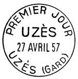 Oblitération 1er jour à Uzès le 27 avril 1957