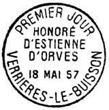 Oblitération 1er jour à Verrières-le-Buisson le 18 mai 1957