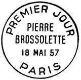 Oblitération 1er jour à Paris le 18 mai 1957