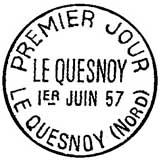 Oblitération 1er jour à Le Quesnoy le 1 juin 1957