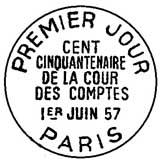 Oblitération 1er jour à Paris le 1 juin 1957