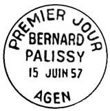 Oblitération 1er jour à Agen le 15 juin 1957