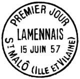 Oblitération 1er jour à Saint Malo le 15 juin 1957