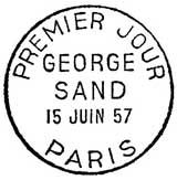 Oblitération 1er jour à Paris le 15 juin 1957